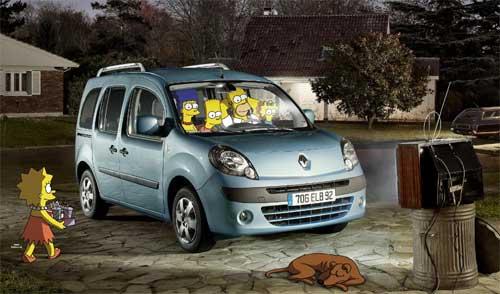 La familia Simpsons y la furgoneta Renault Kangoo